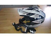 Enduro Motocross Mororcycle Helmet & Goggles Small