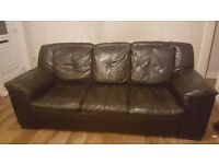 3 seater black leather sofa (soft leather)