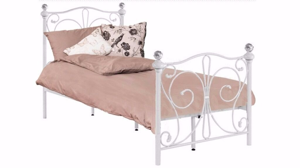 New 3ft Single White Metal Bed Frame With Crystal Finials