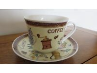 Roy Kirkham England Fine Bone China Coffee Jumbo Breakfast Cup Saucer Set 1998