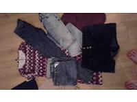 girls bundke 10 items clothes age 12 13 shorts, skinny jeans, tops new look river island