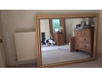 Large bevelled mirror with Gold frame