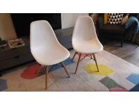 Eames-inspired DSW Dining Chairs x2 WHITE. VGC