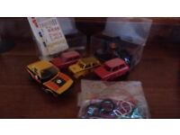 Scalextric cars- 3 mini shells, 1 TR7, stickers, tyres, wires for spares