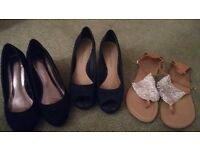 Wedges, peep toe and sandals excellent condition