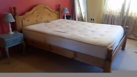 King size pine bed frame with optional good quality memory foam mattress