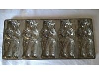 antique metal chocolate mould teddy bear kitchen collectible