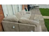 Beautiful light brown cord corner sofa. Will deliver. £220 ono