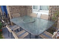 6 seater lazy susan garden table and chairs
