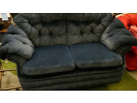 2 x 2 seat sofas plus armchair blue fabric settee