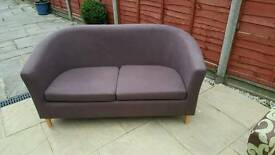 2 seater tub sofa in chocolate brown