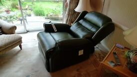 SHERBOURNE Green leather double recliner chair- BRAND NEW- UNUSED.