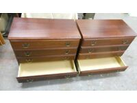 a pair of gorgeous mahogany 4 drawer chests of drawers, with brass handles. very solid. can deliver