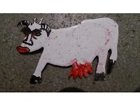 Unique Enamel handpainted Cow Metal Broach – Moody pouting cow. FUN!
