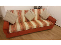 Long Sofa - Burnt Orange Colour - £80 BARGAIN!!