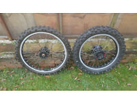 1991 Honda CR500 CR 125 250 Front And Rear Wheels 500, 21 x 18 inch D.I.D, KZ4