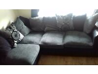 Corner Sofa 5 Seater Grey & Black Fabric & Faux Leather - Scatter Cushion - 1 Year old - Non Smoking