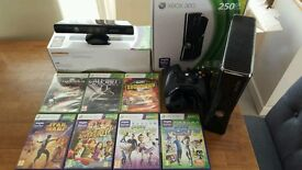 Xbox 360 console with Kinect and 7 games
