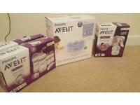Avent natural event bottles. Breast pump. Steriliser.