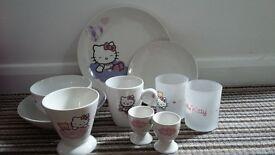 Job lot of Hello Kitty items, plates mugs bowls , egg cups etc
