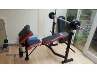 Dalps fitness weight bench and barbell