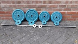 BODY SCULPTURE 48KG CAST IRON WEIGHTS SET WITH BAR