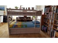 3 bed bunk bed with the matresses ans other living room furnitures