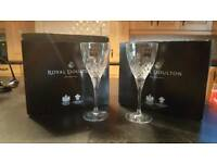 ROYAL DOULTON CRYSTAL WINE GLASS SET X 2