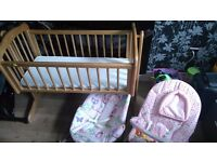 Baby crib with matress plus two baby chairs