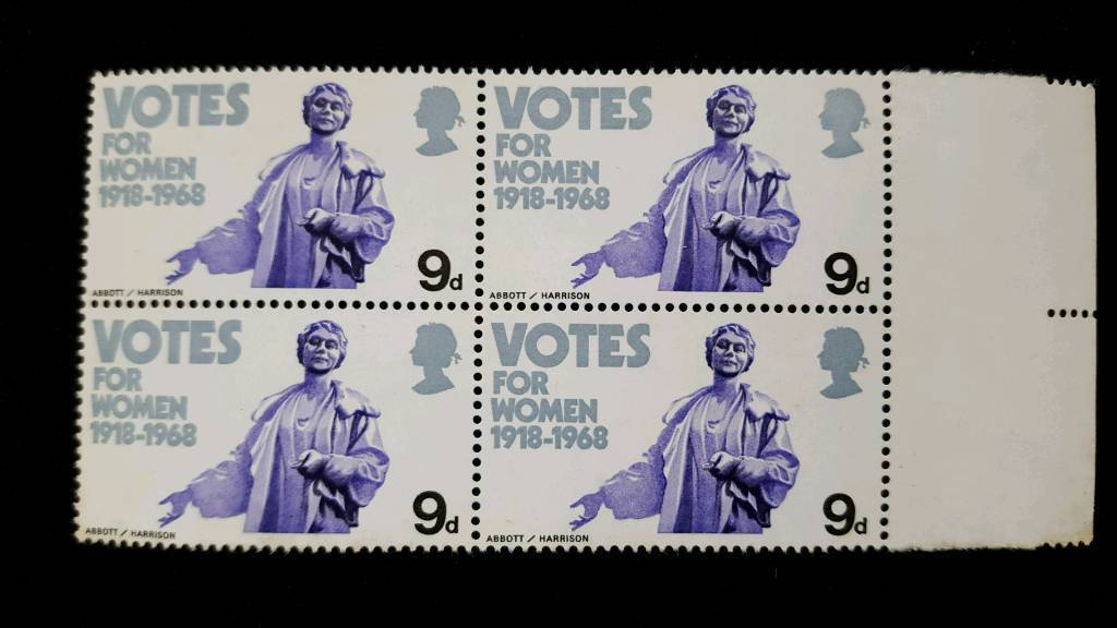 BLOCK OF 4 VOTES FOR WOMEN 9d STAMPS