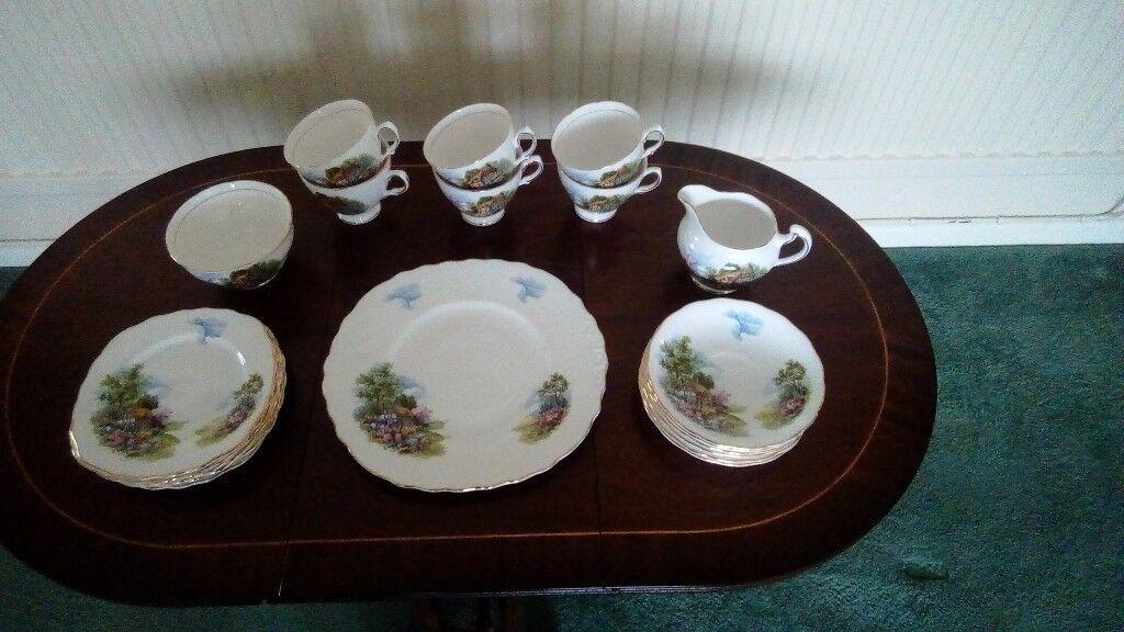 Royal Vale cottage scene tea set