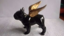 Small Bulldog with Gold Wings Ornament Figure Ceramic