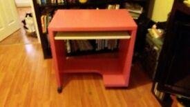 Ikea computer desk, bright pink!