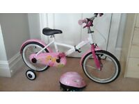 Girls bike 16'', including adjustable removable stabilisers and pink helmet (size M)
