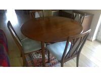 G-Plan dining table & 4 upholstered chairs for sale