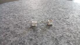 Sterling silver square diamante drop earrings