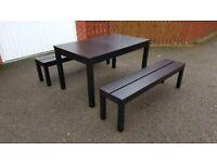 Ikea Black Bjursta Extending Table 140-220cm & 2 IKEA Bjursta Black Benches FREE DELIVERY 4418