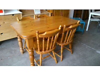 Pine farmhouse table with 4 chairs
