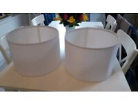 2 x white round lamp shades - £15.00 for pair opr best offer