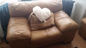 Dfs tan leather sofa and arm chair