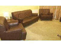 FREE TO COLLECT - 3 seater dark brown leather sofa and 2 matching arm chairs
