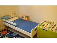 Stylish child bed for 2-8 yr old with safety rail and mattress, in very good condition