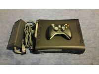 xbox 360 elite with microsoft xbox steering wheel and 7 games