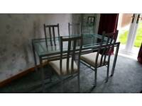 Glass Dining Room Table and 4 Chairs