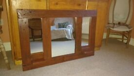 Chunky Wooden Mirror - Handcrafted from responsibly sourced recycled timber.