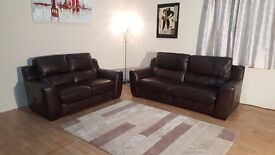 Montana antique brown leather electric 3 seater sofas and standard 2 seater sofa