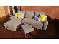 Newly upholstered RHF corner sofa bed with storage box and matching designer stool