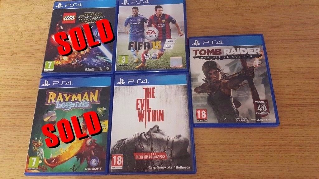 **3** PS4 Games - **5 for sale originaly, 2 sold. New price £30**