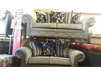 3 SEATER CHESTER SOFA IN BLACK/GREY £599 PLUS 2 SEATER FREE !! BRAND NEW HAND MADE AMAZING QUALITY