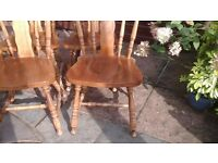 Eight Solid hardwood kitchen/dining chairs farmhouse cottage style